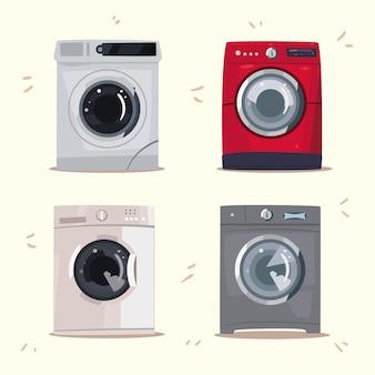 Vier waschmaschinen stellen ikonen ein