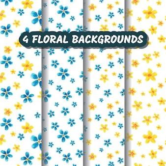 Vier watercolored floralen hintergründe