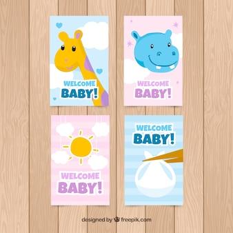 Vier willkommens-babykarten