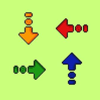 Vierfarbiger pfeil mit pixel-art-stil