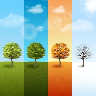 Vierjahreszeitenhintergrundvektorabbildung