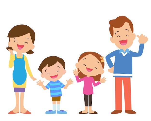 Vierköpfige familie posiert