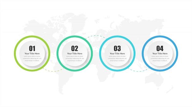 Vierstufige infografik-element-geschäftsstrategie mit nummer