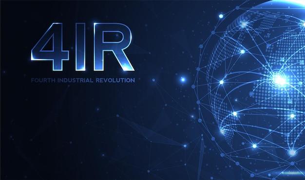 Vierte industrielle revolution auf futuristischem hud mit weltkarten-globus-konzept der automatisierung