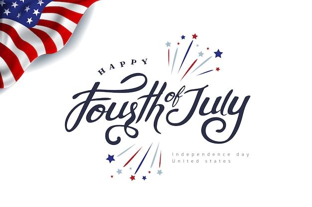 Vierte juli kalligraphie illustration. unabhängigkeitstag usa banner vorlage