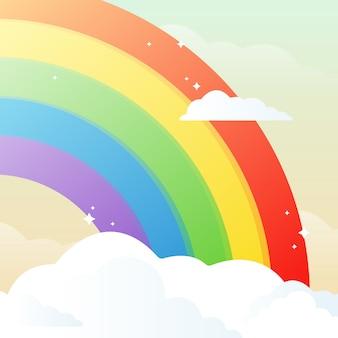 Viertel aus regenbogen und wolken