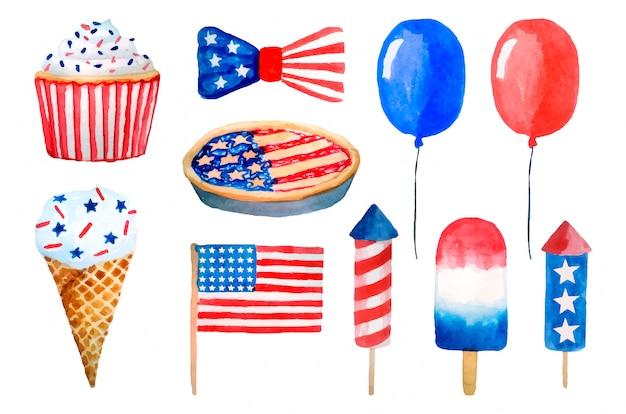 Vierter juli usa unabhängigkeitstag aquarell gesetzt. luftballons, feuerwerk, flagge, eis, kuchen lokalisiert auf weiß.