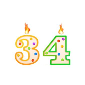 Vierunddreißigjähriges jubiläum, 34 nummerförmige geburtstagskerze mit feuer auf weiß