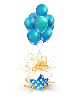 Vierundzwanzig jahre feierlichkeiten grüße zum vierundzwanzigsten jahrestag isolierte gestaltungselemente. öffnen sie eine strukturierte geschenkbox mit zahlen und fliegen sie auf luftballons
