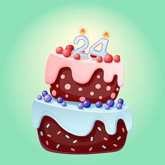 Vierundzwanzig jahre geburtstag niedlichen cartoon festlichen kuchen mit kerze nummer vierundzwanzig. schokoladenkeks mit beeren, kirschen und blaubeeren