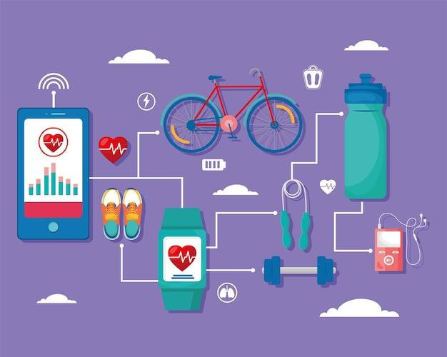 Vierzehn gesundheits-app-symbole
