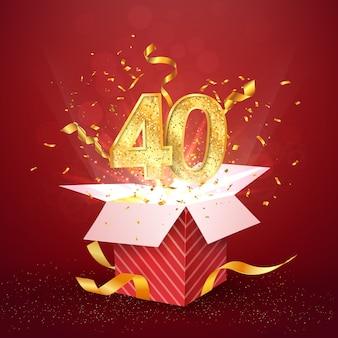 Vierzig jahre jubiläum und offene geschenkbox mit explosionen konfetti isoliert designelement