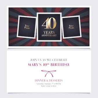 Vierzig jahre jubiläumseinladung mit fotorahmencollage für 40. geburtstagskartenparty laden ein