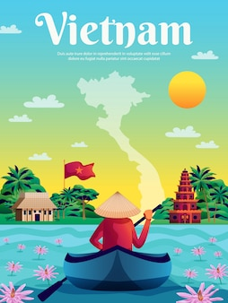 Vietnam farbiges plakat