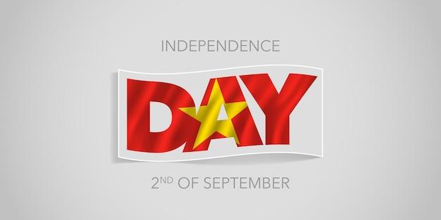 Vietnam glücklicher unabhängigkeitstag. vietnamesische wellenförmige flagge in nicht standardmäßigem design für den nationalfeiertag 2. september