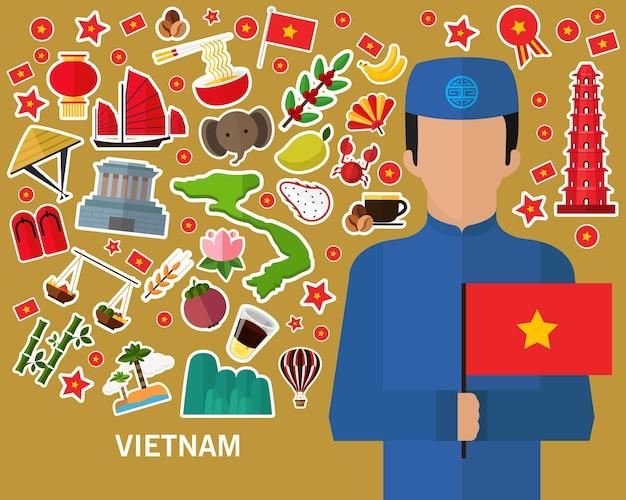 Vietnam-konzepthintergrund flache ikonen