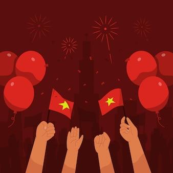 Vietnam-unabhängigkeitstag-hintergrund mit den händen, die fahnenballons und feuerwerk in flachem design schwenken