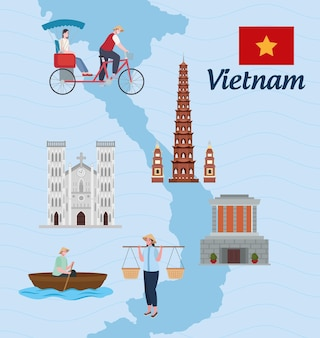 Vietnam wahrzeichen und menschen