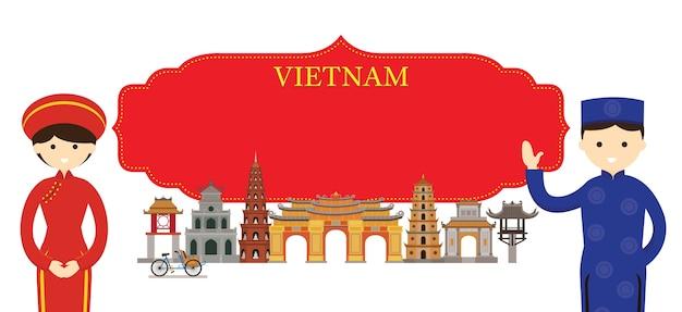 Vietnam wahrzeichen und traditionelle kleidung
