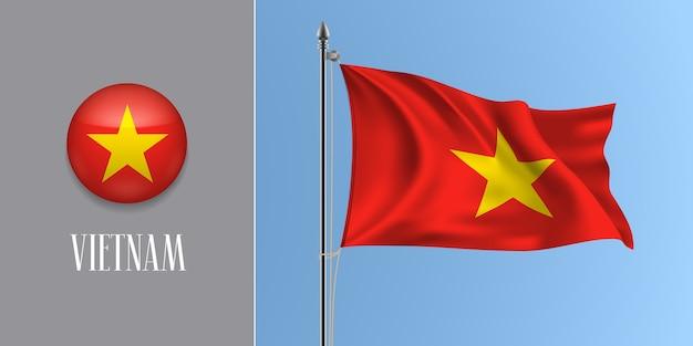 Vietnam winkende flagge auf fahnenmast und runder symbolillustration