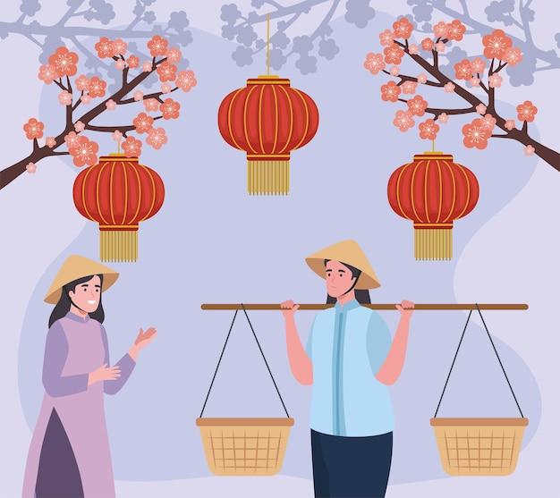 Vietnamesische frauen lächeln