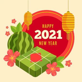 Vietnamesisches neujahr 2021 handgezeichnet