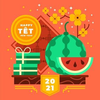 Vietnamesisches neujahr 2021 und aprikosenblüten