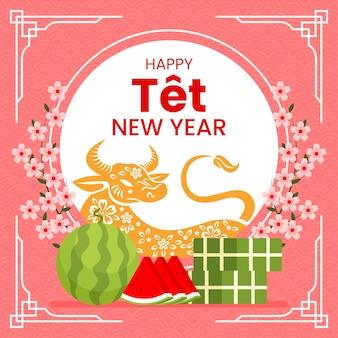 Vietnamesisches neujahr 2021 und wassermelonen-tet-kuchen