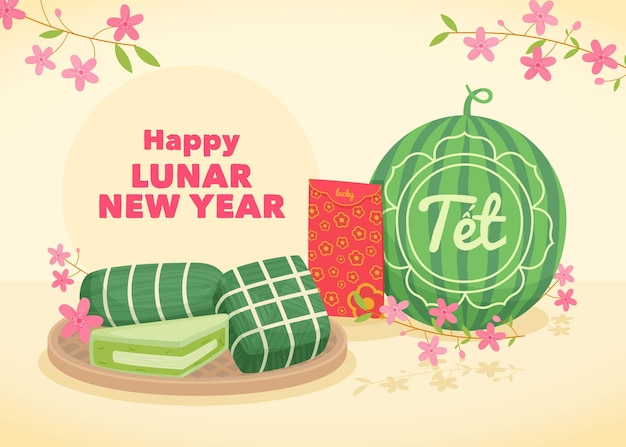 Vietnamesisches neujahr mit wassermelone