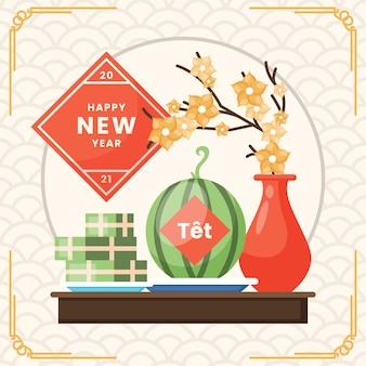 Vietnamesisches neujahrswohnungsdesign