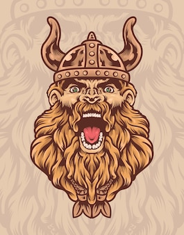 Viking warrior illustration mit einem wikingerhelm