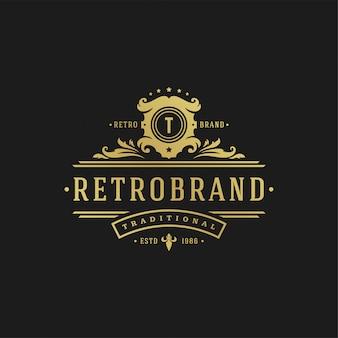 Viktorianische königliche ornamentformen der luxuslogodesignschablone für logo- oder abzeichenentwurf