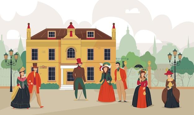 Viktorianische komposition der altstadt des 18. 19. jahrhunderts mit historischem stadtbild im freien und charakteren von menschen