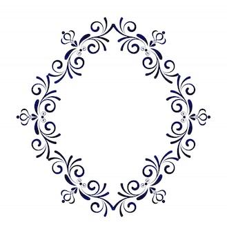 Viktorianischer stil des dekorativen rahmens, element für designschablone, blaue blumengrenze
