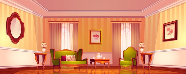 Viktorianisches wohnzimmer, altes königliches barockinterieur