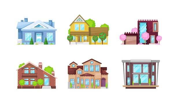 Villa cottage außenset. apartmenthausfassade mit fenster, eingang und bäumen im freien. architektur wohnhaus. stilvolle moderne immobilien, residenz, flacher vektor in der nachbarschaft