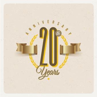 Vintage 20 jahre jubiläumsemblem mit goldenem band und lorbeerkranz - illustration