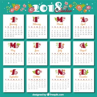 Vintage 2018 kalendervorlage