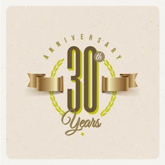 Vintage 30 jahre jubiläumsemblem mit goldenem band und lorbeerkranz - illustration