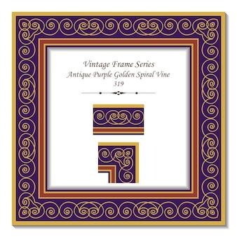 Vintage 3d-rahmen der antiken lila goldenen spiralrebe