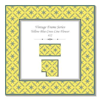 Vintage 3d-rahmen der gelben blauen kreuz-linien-blume