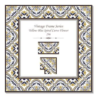 Vintage 3d-rahmen der gelben blauen spiralkurven-blume