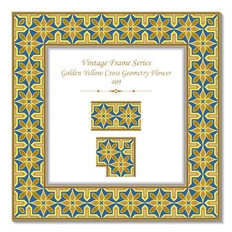 Vintage 3d-rahmen der golden yellow cross geometry flower