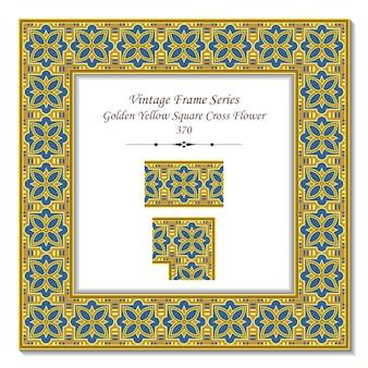 Vintage 3d-rahmen der goldenen gelben quadratischen kreuzblume