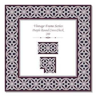 Vintage 3d-rahmen von purple round cross check leaf