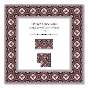 Vintage 3d-rahmen von retro purple round cross flower