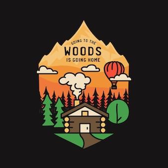 Vintage abenteuer abzeichen illustration design. outdoor-logo mit hütte, bäumen, bergen und text - in den wald gehen heißt nach hause gehen. ungewöhnlicher camping-hipster-stil emblem patch.