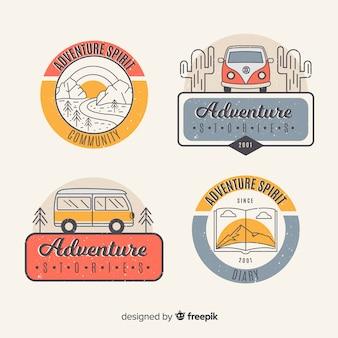 Vintage abenteuer-logo-sammlung