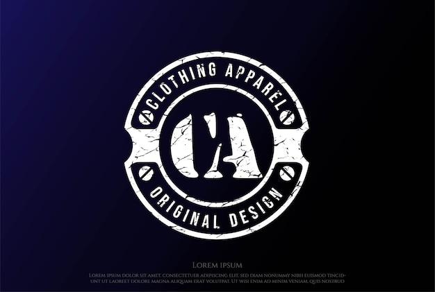Vintage abzeichen emblem label stempel für kleidung bekleidung logo design vector