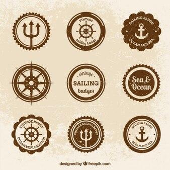 Vintage-abzeichen mit salor thema